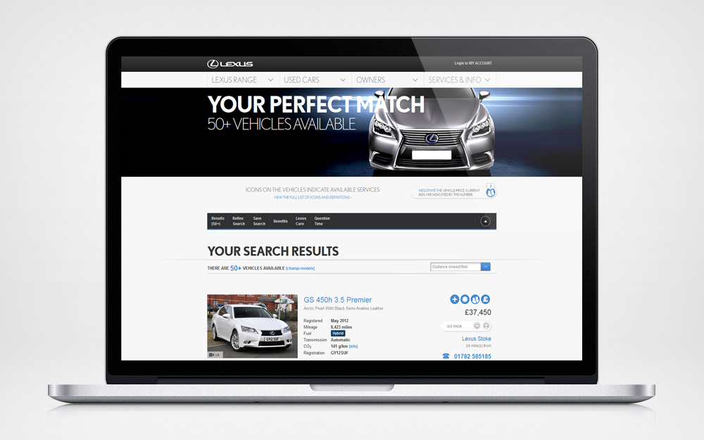 Lexus used car locator - search results page