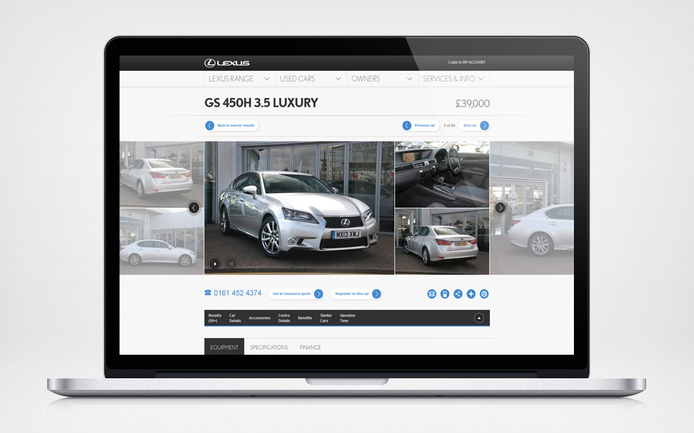 Lexus used car locator - vehicle detail page