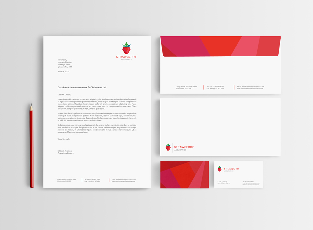 Strawberry assurance letterhead envelope and business card design reheart