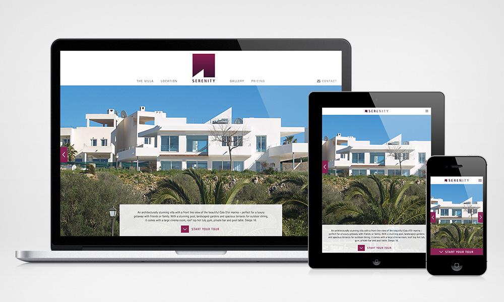 Mockup of website design on laptop, tablet and mobile phone