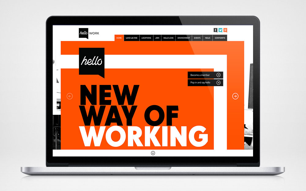 Mockup of hello Work website