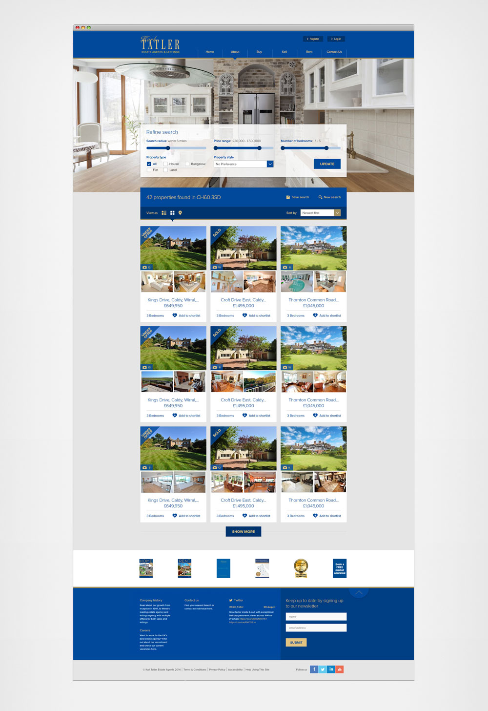 Search results page - grid view